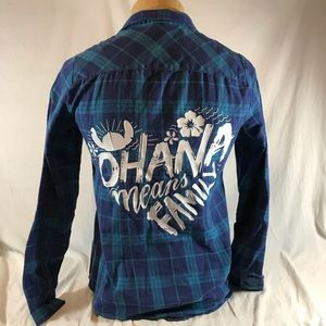 08d5a428371 Disney Lilo   Stitch Button Plaid Flannel Shirt